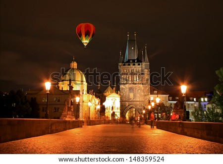 The night view of the beautiful Prague City along the River Vltava - stock photo
