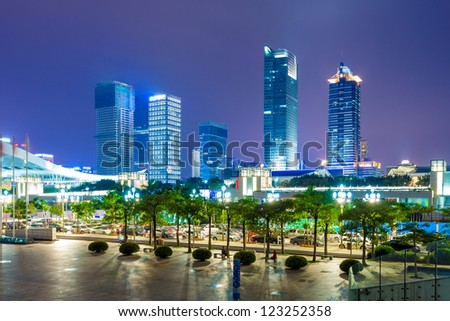the night view of the shanghai china. - stock photo