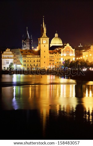 The night View on bright Prague Old Town above the River Vltava, Czech Republic