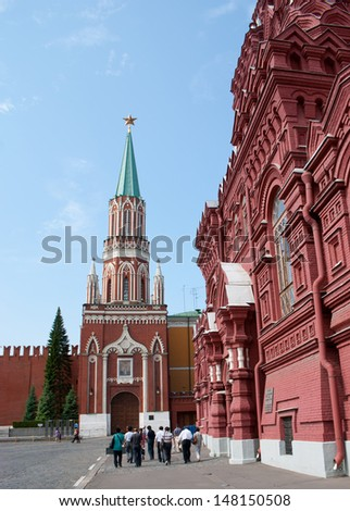 The Nikolskaya Tower is a tower with a through-passage on the eastern wall of the Moscow Kremlin, which overlooks the Red Square not far from the State Historical Museum. - stock photo