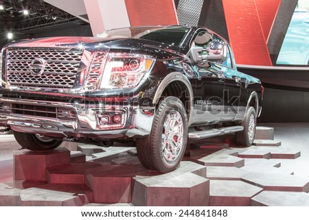 The 2016 Nissan Titan at The North American International Auto Show January 12, 2015 in Detroit, Michigan.