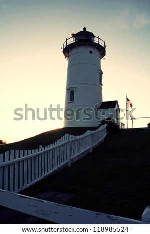 The Nobska Lighthouse, located on Cape Cod - stock photo