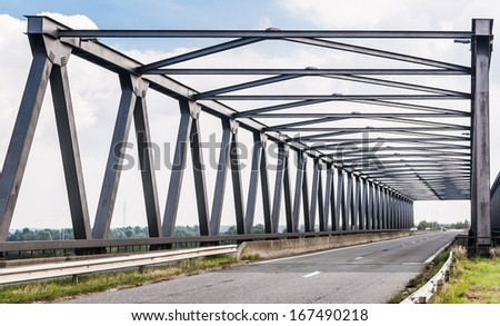 The Noordlandbridge is a truss bridge in the surroundings of Antwerp in Belgium. - stock photo