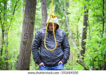 The noose before the man in the  woods - stock photo