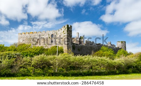 The Norman Manorbier Castle West Wales UK Europe - stock photo