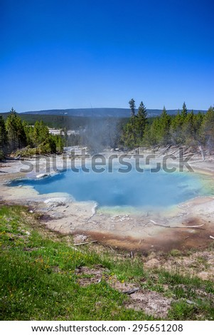 The Norris Geyser Basin in Yellowstone National Park USA - stock photo