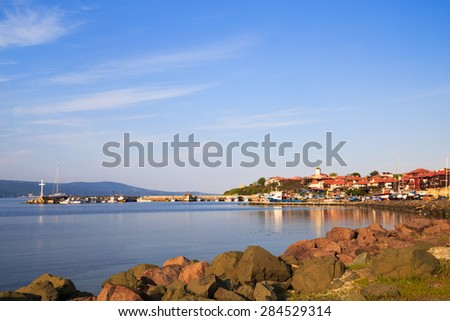 The north harbor of the old town of Nessebar, Bulgaria. Nessebar is an ancient town and one of the major seaside resorts on the Bulgarian Black Sea Coast, located in Burgas Province. - stock photo