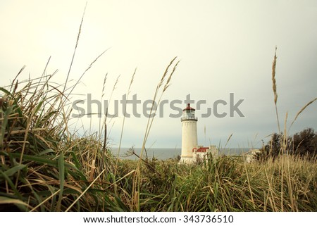 The North Head lighthouse at Cape Disappointment State Park outside of Ilwaco, Washington. - stock photo