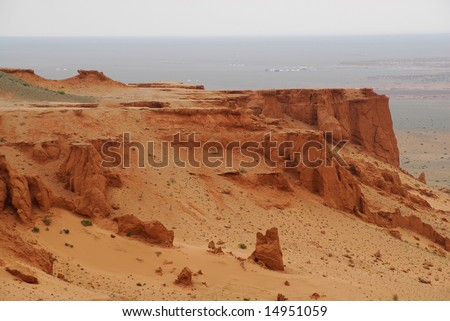 The northern edge of the Gobi Desert in southern Mongolia - stock photo