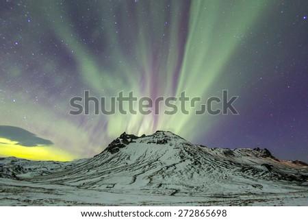The Northern Light Aurora borealis at Vik Iceland - stock photo