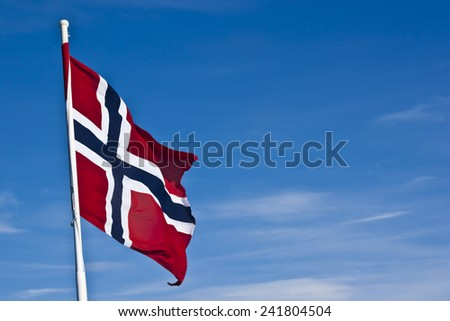 The Norwegian flag against the Norwegian landscape.