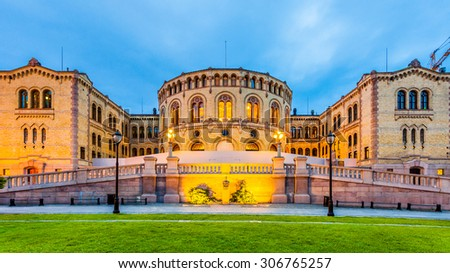 The Norwegian Parliament in Oslo, Norway.