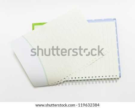The Notebook background open right  view with a spiral binding