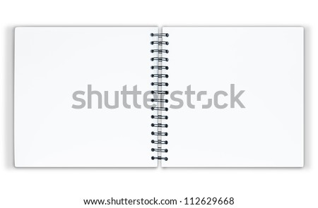 The notebook is on white background with clipping path - stock photo