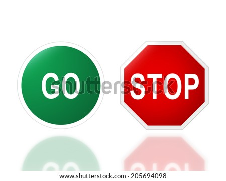 the notice of road signage go and stop for transportation safety  - stock photo