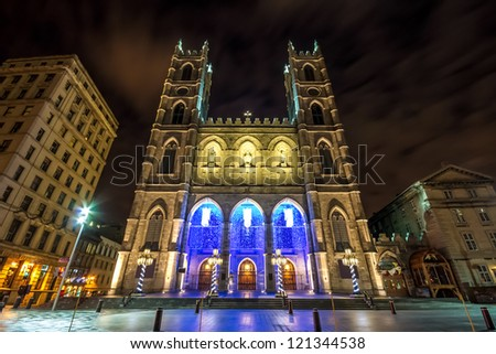The Notre-Dame Basilica of Montreal with Christmas Decoration (With a little picture noise in the sky) - stock photo