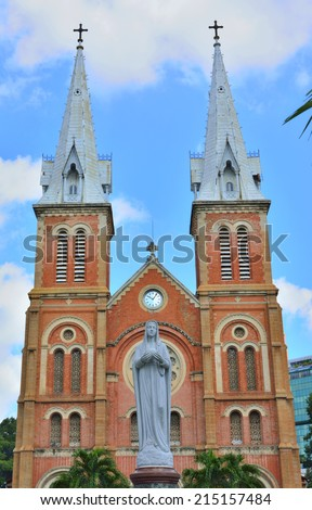 The Notre Dame Cathedral at Ho Chi Minh City in Vietnam the Blessed Virgin Mary