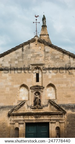 The Notre-Dame-de-la-Major is a Romanesque and Gothic style church of the city of Arles in the Provence region in South-Eastern France. - stock photo