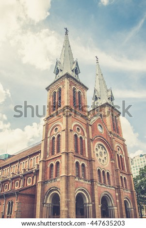 The Notre-Dame Saigon Basilica in Ho Chi Minh City, Vietnam, Southeast Asia  (Vintage filter effect used)