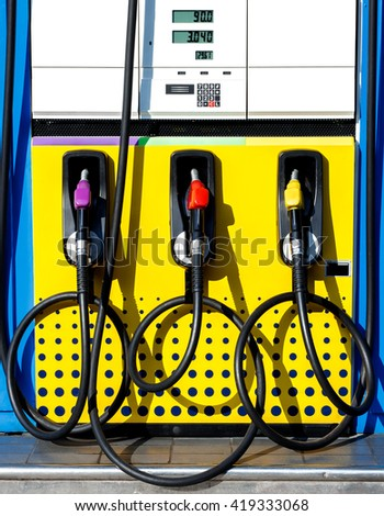 The nozzle fuel panel in Gas Station / filling station.  - stock photo
