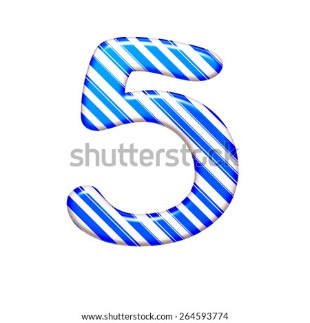 The number five, isolated on white background - stock photo