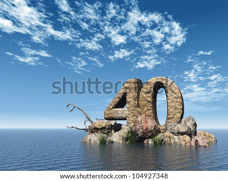 the number forty - 40 -  at the ocean - 3d illustration - stock photo