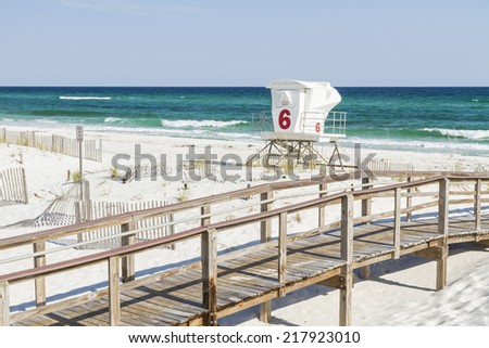 The number 6 lifeguard station at Park West on the western end of Pensacola Beach, Florida. - stock photo
