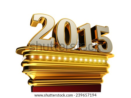 The number 2015 on a golden pedestal over white background with brilliant lights - stock photo