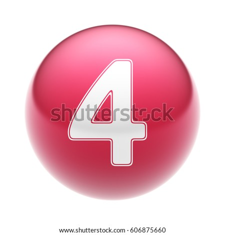 The Number on The red Ball. 3D illustration.