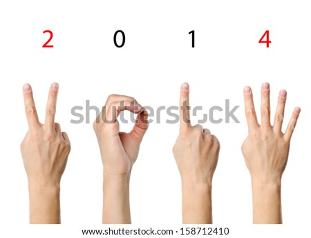 The number 2014 shown by fingers in creative New Year greeting card - stock photo