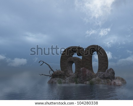the number sixty - 60 -  at the ocean - 3d illustration
