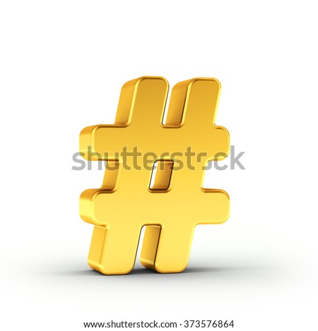 The Number symbol as a polished golden object over white background with clipping path for quick and accurate isolation. - stock photo
