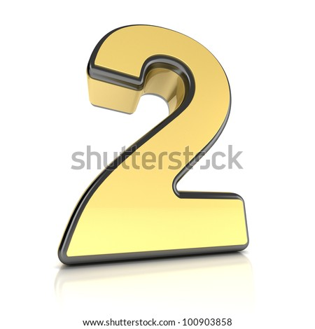 The number two as a shiny metal object over white - stock photo