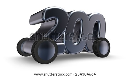 the number two hundred on wheels - 3d illustration - stock photo