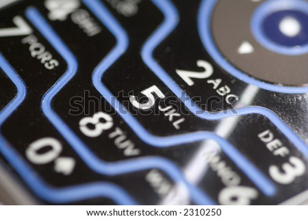 The numbers and letters of a backlit cellphone keypad