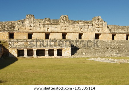 The Nuns' House in Uxmal Mayan city, Yucatan, Mexico - stock photo