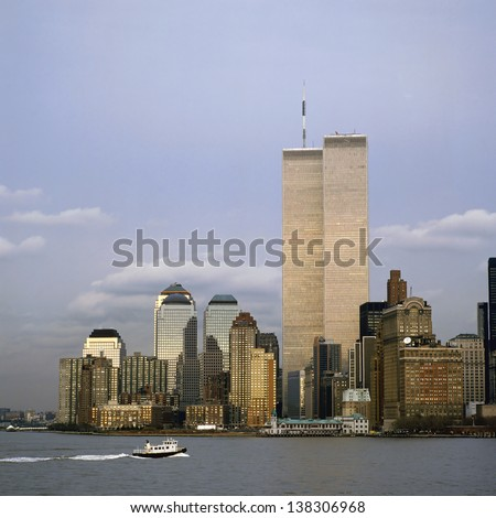 The NYC skyline with the World Trade Center seen from NJ - stock photo