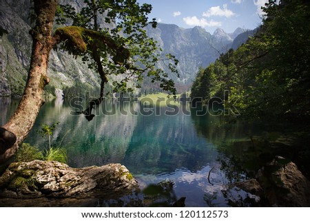 The Obersee above lake Konigssee near Schonau, Bavaria, in Summer