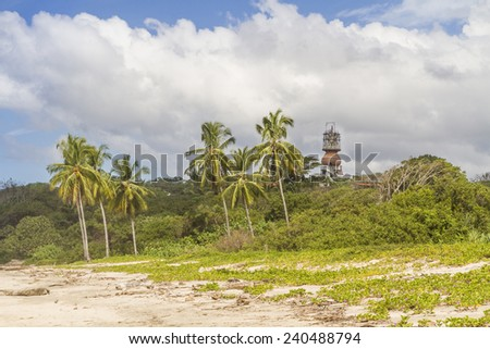 The observation tower of the old Hotel Norsara rises between the palm trees above the flowery vegetation of Playa Guiones in Nosara, Costa Rica - stock photo