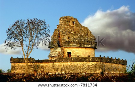 The observatory at Chichen Itza - stock photo