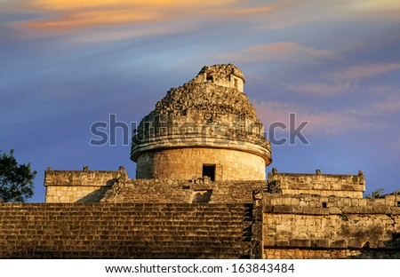 The observatory at Chichen Itza, mexoco, Yucatan