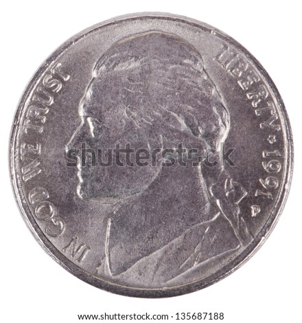 The obverse side of a USA 5 cents (nickel) coin, depicting president's Thomas Jefferson portrait. Isolated on white background. - stock photo