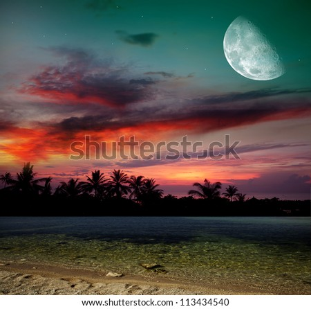 The ocean, sunset and moon - stock photo