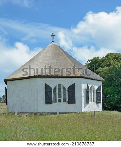 the octagonal little Chapel of Vitt at Kap Arkona on Ruegen island,baltic Sea,Mecklenburg-Vorpommern,Germany