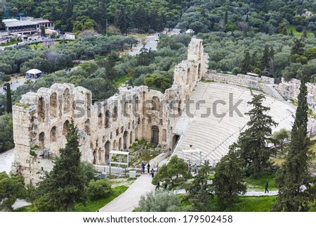 The Odeon of Herodes Atticus,on the southwest slope of the Acropolis of Athens,Greece