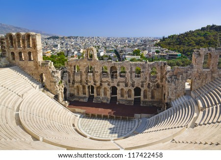 The Odeon theatre at Athens, Greece - view from Acropolis - stock photo
