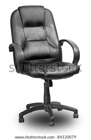 The office chair from black imitation leather. Isolated