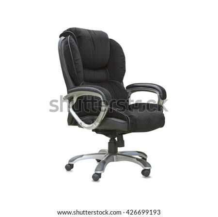 The office chair from black velours Isolated
