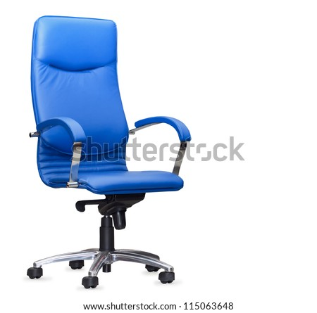 The office chair from bue leather. Isolated - stock photo