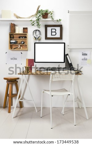 The office of a creative entrepreneur./ Modern creative workspace.